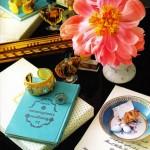 Coral flower Tiffany blue book gold cuff teacup saucer vingette