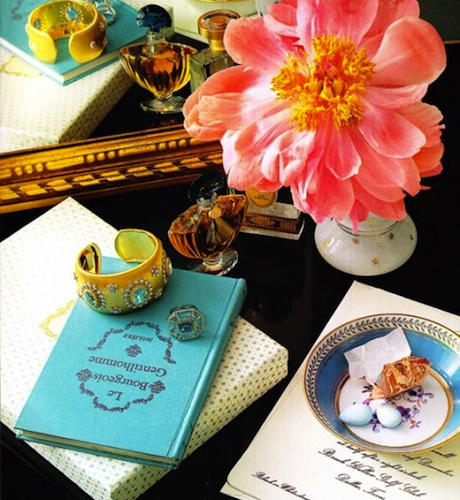 Coral flower Tiffany blue book gold cuff teacup saucer vingette