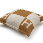 Cushion wool and cashmere ecru camel by Hermes