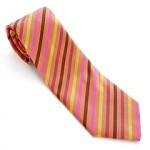 Hermes Tie - pink yellow red stripes