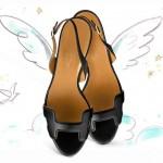 Hermes Night 70 sandal in black calfskin