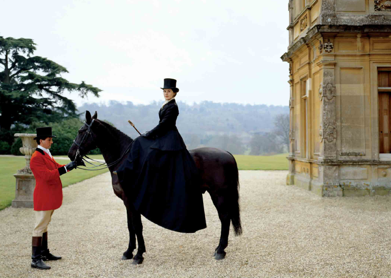 Lady Mary on a horse for the annual hunt - Downton Abbey