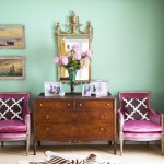 A ladylike life - Luscious purple chairs on either side of console
