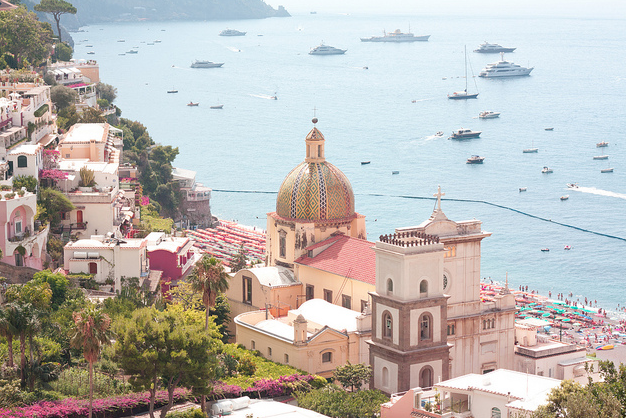 View of Positano - pastel colours