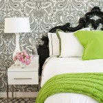 Elegant bedrooms - Luscious bedroom with lime green, white and grey tones
