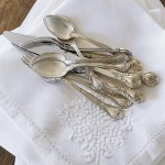Linen napkins with silver cutlery