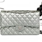 Silver Chanel classic flap bag