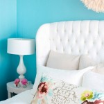 Tufted bedroom headboard - Tufted furniture - white and turquoise blue