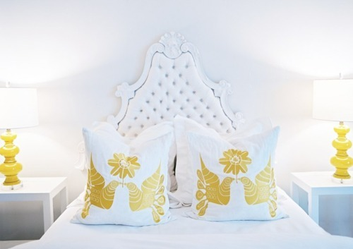 Tufted bedroom bedhead - Tufted furniture - white yellow
