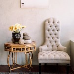 Beige tufted chair
