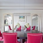Tufted pink - pink dining chairs with piping