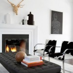 Black and white living room with fire