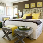 Bedroom with yellow and chocolate styling