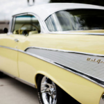 vintage pale yellow car