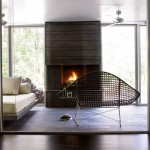 Modern fire design with macassar ebony