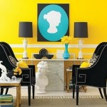Yellow and black living space decor