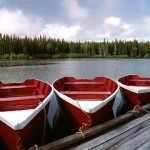 red rowboats