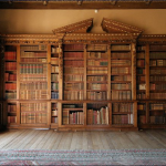 Downton Abbey and Highclere Castle interiors - bookcase