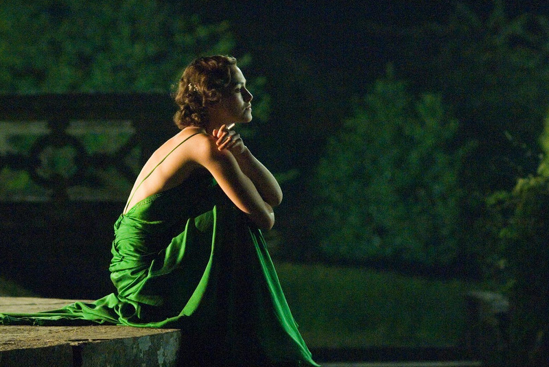 Keira Knightley in green evening dress in Atonement