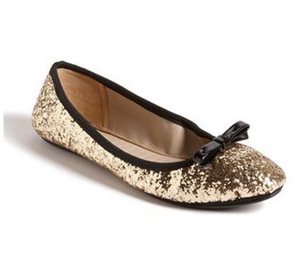 Kate Spade gold glitter ballet flats