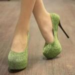 Green glitter platform heels