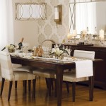 Dining room with greige patterned wallpaper