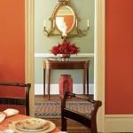Orange dining room and hallway