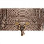 Barneys Chloe Marcie Python Continental Wallet - Greige