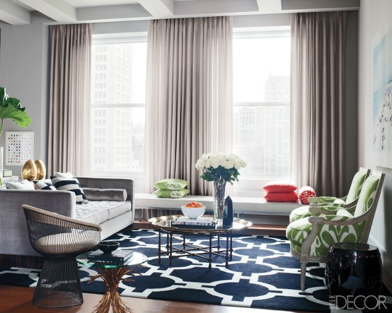 Blue and White Graphic Rug via Elle Decor
