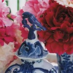 blue and white ceramic with pink peonies