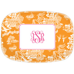 Boatman Geller Personalized Chinoiserie Tangerine Platter
