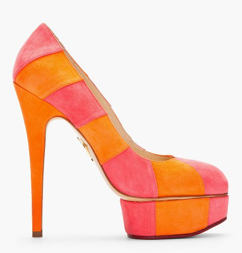 Charlotte Olympia Orange And Pink Striped Suede Priscilla Pumps