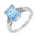 Pale blue stone engagement ring with diamonds