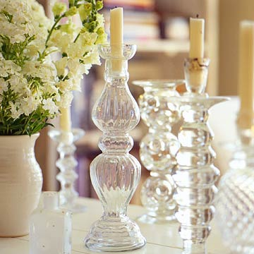 Beautiful glass candlestick holders