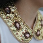 Mother of pearl - sequinned necklace collar