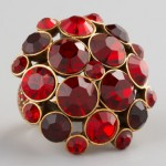 Oscar de la Renta Crystal Cluster Ring Red
