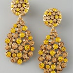 Oscar de la Renta Crystal Teardrop Earrings Yellow