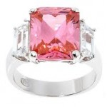 Pink ruby engagement ring with diamonds