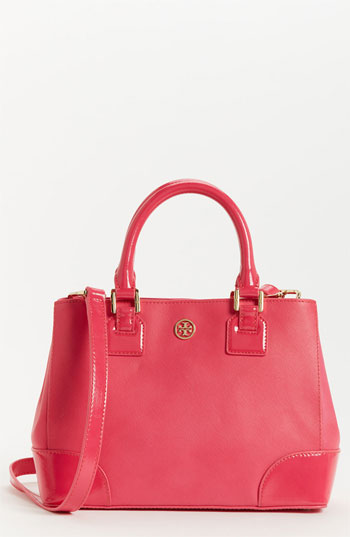 Tory Burch Robinson - Mini Leather Tote Bougainvillea Pink