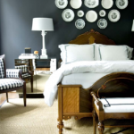Bedroom designed by Courtney Giles with zebra rug