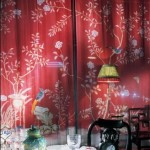 Red chinoiserie fabric