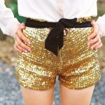 fab gold sequinned shorts