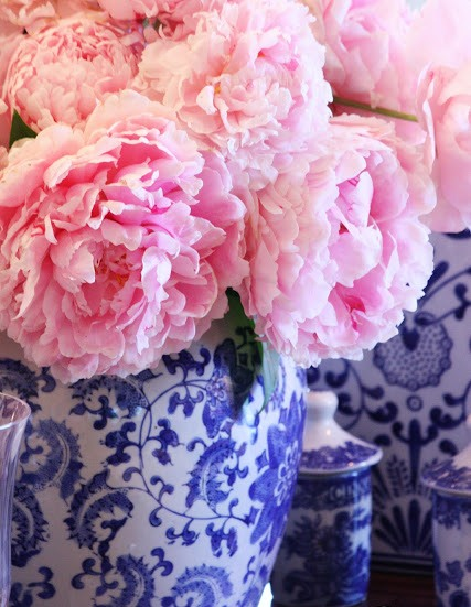 Blue and white ginger jar with pink flowers