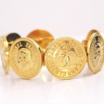 Chanel Vintage Coin Motif Gold Bangle Cuff Bracelet Rare