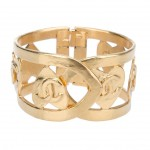Chanel Vintage Gold Toned Metal Cuff Bracelet