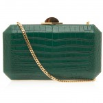 Elie Saab Rectangle Aligator Clutch Bag in green