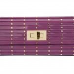 Elie Saab Twist Lock Structured Clutch in purple