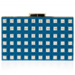 Elie Saab blue gold Grid Box Clutch