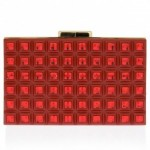 Elie Saab grid clutch in red