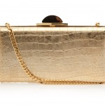 Elie Saab gold Aligator Print Clutch Bag